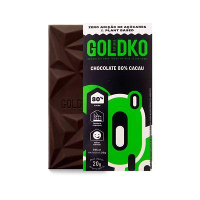 Tablete de chocolate 80% cacau zero adição de açúcares - 20g
