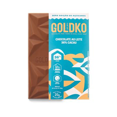 Tablete de chocolate ao leite 36% cacau zero adição de açúcares - 20g