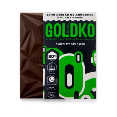 Tablete de chocolate 80% cacau zero adição de açúcares - 60g