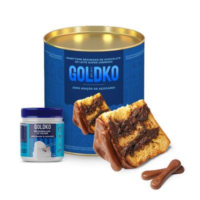 Panettone recheado de chocolate ao leite + Potinho de marshmallow zero adição de açúcares